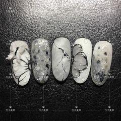 晕染花朵圆形黑色灰色手绘石纹美甲图片