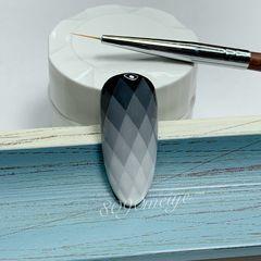 圆形夏天渐变手绘菱格黑色彩绘胶画的格子款美甲图片