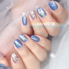 方圆形蓝色银色猫眼水波纹贝壳片美甲图片