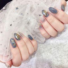 圆形晕染贝壳片灰色日式金属饰品美甲图片