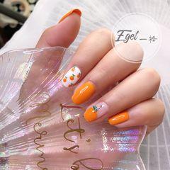 橙色方圆形夏天水果手绘可爱圆法式美甲图片