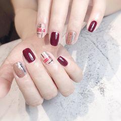 红色方圆形跳色魔镜粉贴纸玻璃纸美甲图片