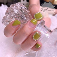 绿色方圆形短指甲夏天简约可爱小清新美甲图片