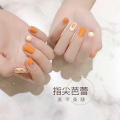 橙色方圆形夏天简约跳色水果圆法式美甲图片