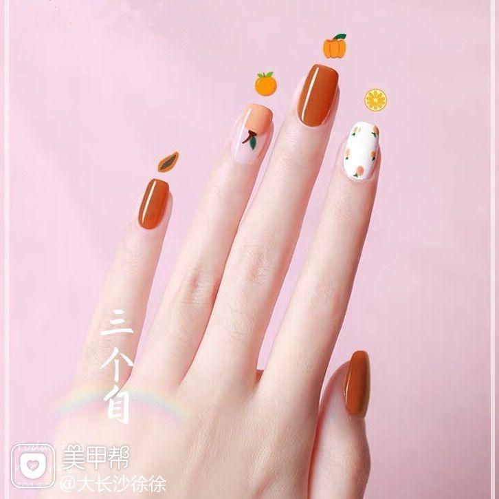 橙色夏天水果简约方圆形美甲图片