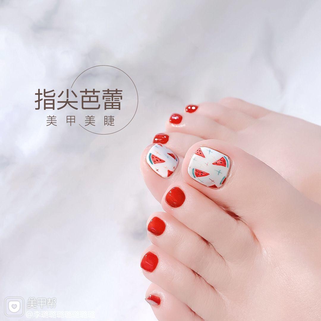 红色脚水果夏天短指甲手绘西瓜美甲图片