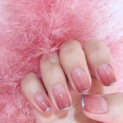 方形渐变粉色法式简约上班族美甲图片