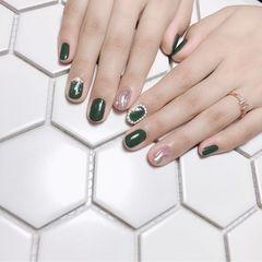 绿色银色圆形夏天水波纹简约珍珠美甲图片