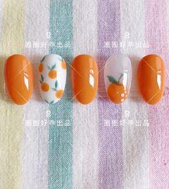 圆形橙色手绘水果夏天美甲图片