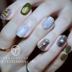 方圆形绿色银色贝壳珍珠贝壳片一款时尚不会撞脸的Mix款[得意]美甲图片