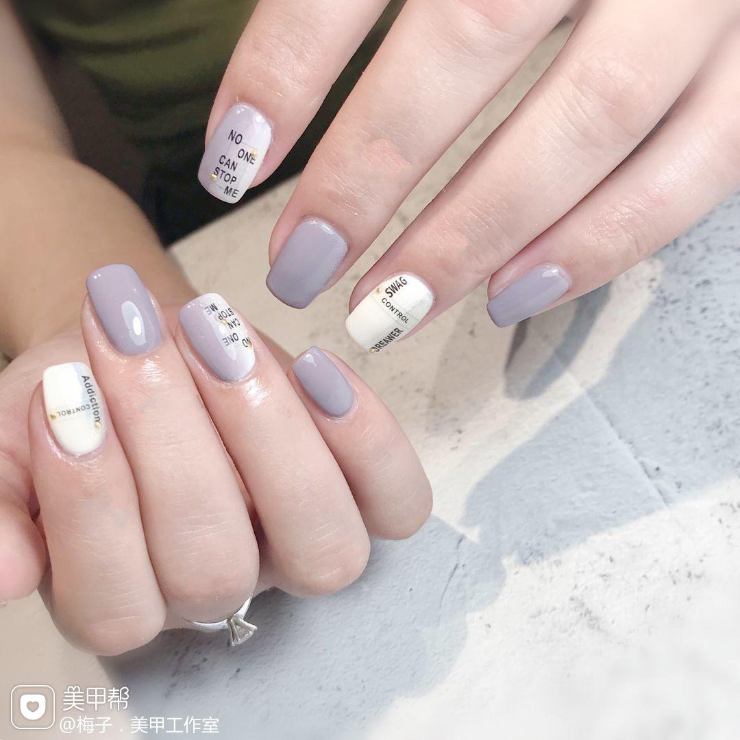 方圆形夏天跳色贴纸玻璃纸竖形渐变紫色美甲图片