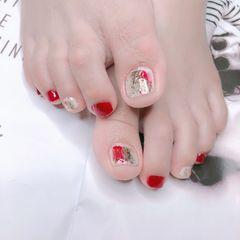 红色简约夏天脚部银色晕染美甲图片