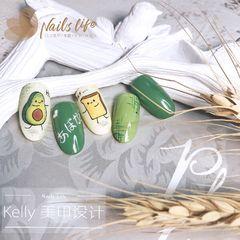 绿色黄色圆形夏天跳色水果手绘牛油果可爱流行色+可爱牛油果手绘美甲图片