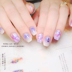 裸色蓝色方圆形跳色紫色手绘花朵亮片贝壳片美甲图片