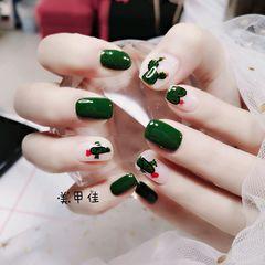 绿色方圆形夏天短指甲仙人掌可爱美甲图片