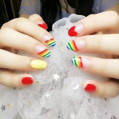彩色红色圆形夏天短指甲跳色彩虹可爱法式美甲图片