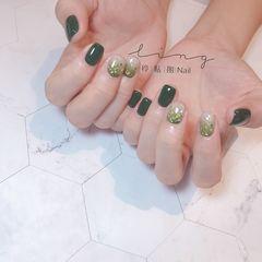 绿色方形夏天渐变金箔亮片美甲图片