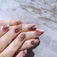 圆形银色红色晕染珍珠金箔新娘日式『爱丽丝仙境』上手版 不是很奢华  但却很高级美甲图片