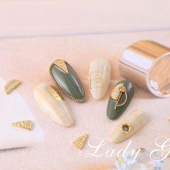 绿色夏天晕染日式钻饰白色圆形金属饰品美甲图片
