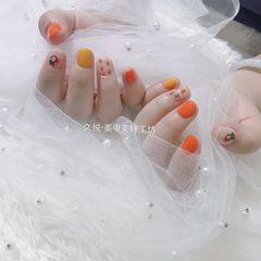 圆形黄色橙色手绘水果可爱跳色夏天短指甲美甲图片