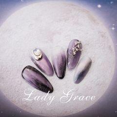 夏天晕染日式紫色钻饰尖形渐变美甲图片