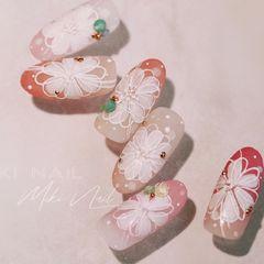 红色花朵新娘圆形磨砂日式──MIKI NAIL 学员练习作美甲图片