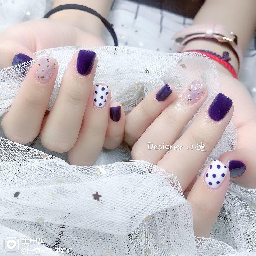 方圆形夏天跳色波点贝壳片金箔紫色美甲图片