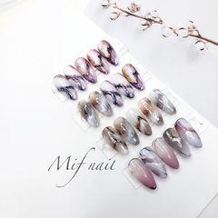 尖形紫色棕色手绘晕染石纹日式美甲图片