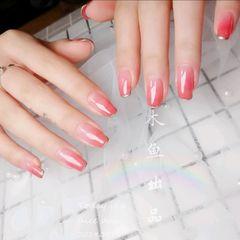 方圆形粉色渐变法式简约上班族裸粉色渐变美甲图片