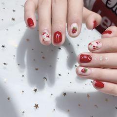 方圆形红色白色手绘水果樱桃草莓夏天美甲图片