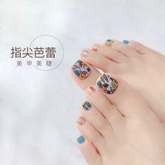 蓝色彩色方形夏天花朵简约脚美甲图片