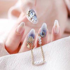 尖形晕染简约新娘蓝色金属饰品日式亲爱的们➕关注呀美甲图片