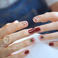 圆形红色手绘水果草莓樱桃夏天小草莓🍓和小樱桃🍒是好盆油~美甲图片