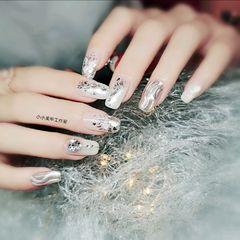 方圆形水波纹简约贝壳片渐变亮片钻魔镜粉银色美甲图片