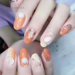贝壳片金箔圆形橙色美甲图片