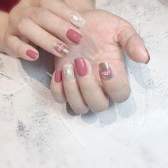 方圆形夏天跳色贝壳片贴纸粉色美甲图片