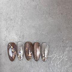 银色尖形晕染金箔贝壳片闪粉亮片棕色美甲图片
