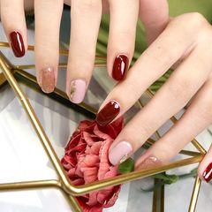 红色裸色简约网红美甲图片