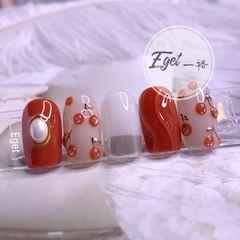橙色方圆形秋天可爱手绘樱桃水波纹美甲图片