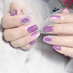 方圆形秋天钻珍珠竖形渐变紫色美甲图片