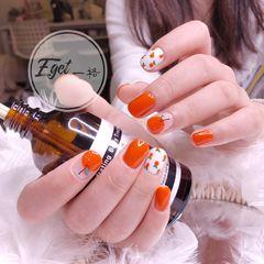 橙色方圆形秋天手绘可爱水果美甲图片