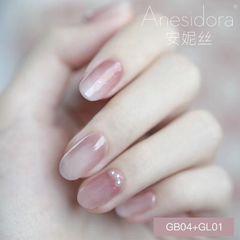 裸色圆形日式美甲粉色 豆沙渐变美甲图片