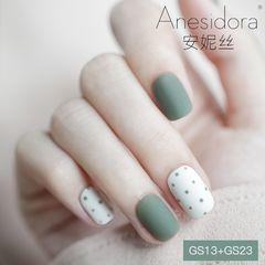 绿色方圆形磨砂波点秋天安妮丝专业美甲日式美甲清新小波点 绿色美甲图片