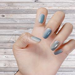 蓝色渐变灰色猫眼美甲图片