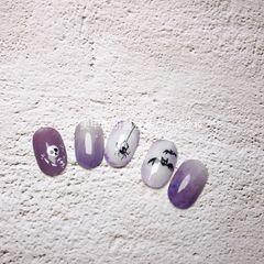 圆形紫色黑色白色渐变手绘万圣节谢莎老师是美甲帮研习社广州淘金校区的老师,想跟老师线下学习日式美甲的同学可以咨询微信:mjbyxs15哦~美甲图片