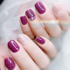 方圆形紫色裸色珍珠美甲图片