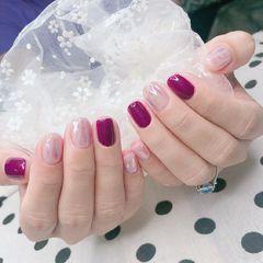 方圆形简约紫色,糖果纸美甲图片