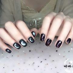 鸳鸯美甲💅🏻黑色星月磨砂款➕黑色银行星空甲,一手一个款时髦又好看~美甲图片