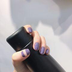方形秋天简约香芋紫美甲图片