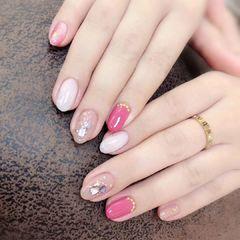 裸色圆形贝壳片桃粉色美甲图片